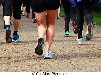 Running rearguard of legs at a long distance race