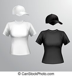 Women t-shirt baseball cap - Womens black and white t-shirt...