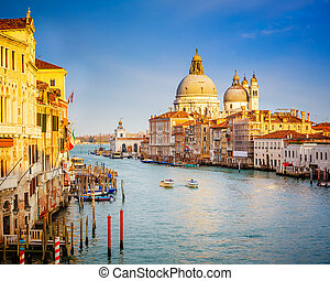 Venice at sunny evening - Grand Canal and Basilica Santa...