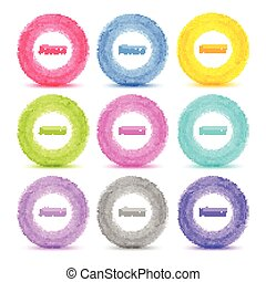 Set of 9 Light Hand drawn colorful watercolor circles,...