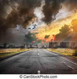Road and the moon Elements of this image furnished by NASA