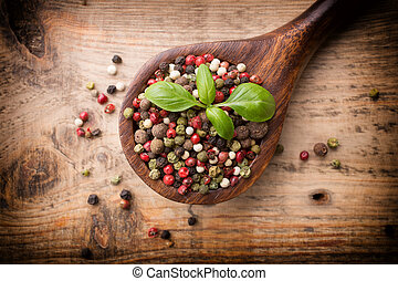 Spice - Spice mix a wooden spoon on a wooden background