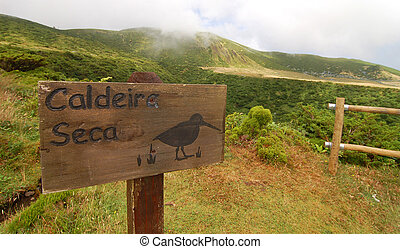 Sign on the volcano in azores