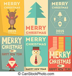 Christmas Posters Set - Merry Christmas Greeting Cards in...