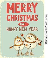 Merry Christmas Greeting Card with Snowmen in Retro Style...