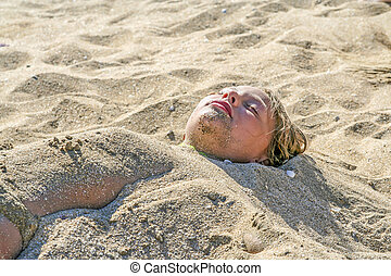 young girl at the beach with wet hair - cute young girl at...