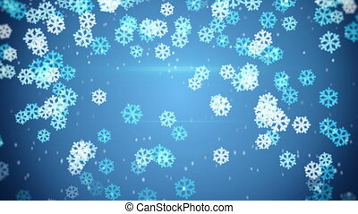 blue glowing snowflakes falling. Computer generated seamless...