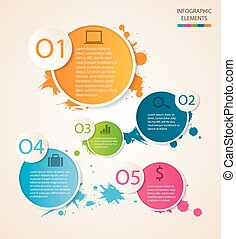 Watercolour circle Infographic Shadow are made with...