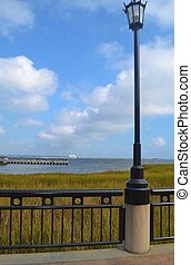 A lamp post along the waterfront