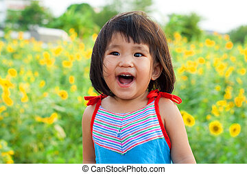 close up nice big smile of asian children - nice big smile...