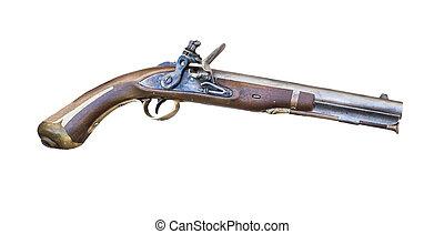 Flintlock pistol - 1807 Harpers Ferry flintlock pistol on a...