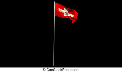 Swiss national flag waving on flagpole on black background