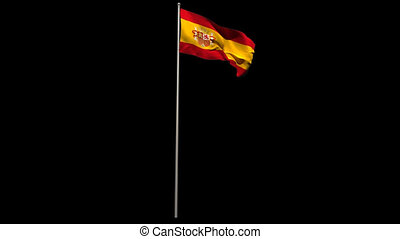 Spain national flag waving on flagpole on black background