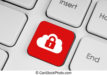 Cloud computing security concept on red keyboard button...