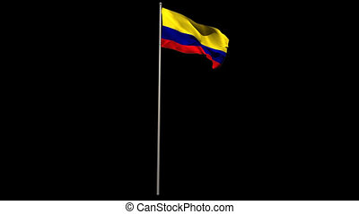 Colombia national flag waving on flagpole on black...