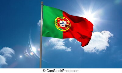 Portugal national flag waving on flagpole on blue sky...