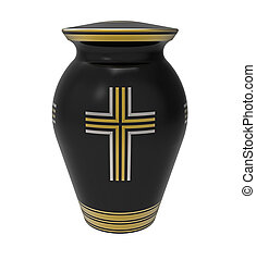Cremation urn with cross, 3d render, isolated on white