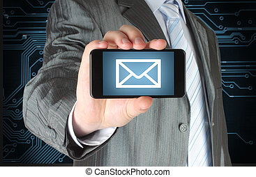 Man holding mobile smart phone with message on its screen