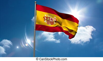 Spain republic national flag waving on flagpole on blue sky...