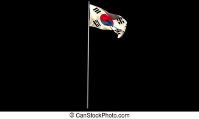 Korea republic national flag waving on flagpole on black...