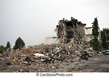 Destroyed building, debris Series - Destroyed building, can...