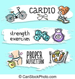 Fitness sketch banner set - Fitness cardio strength...
