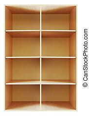 Blank wooden bookshelf - empty wooden bookshelf isolated on...