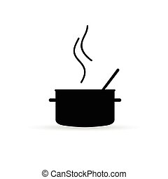 cooking pot icon silhouette vector on white