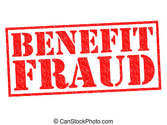 BENEFIT FRAUD red Rubber Stamp over a white background