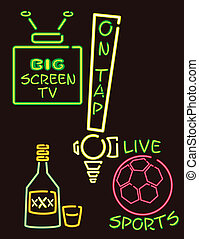 neon lights pub version 3 - Fun signs in a neon style. There...