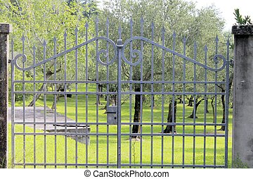gate - iron entrance gate to rural property