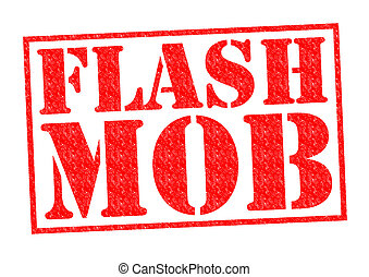 FLASH MOB red Rubber Stamp over a white background