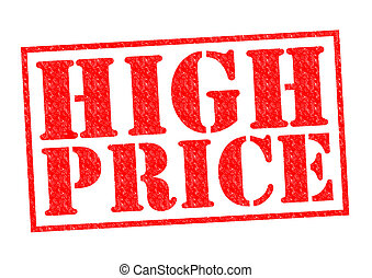 HIGH PRICE red Rubber Stamp over a white background.