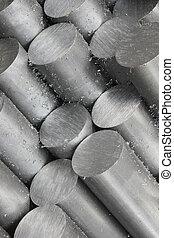 sólido, aluminio, tubos,