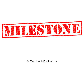 MILESTONE red Rubber Stamp over a white background