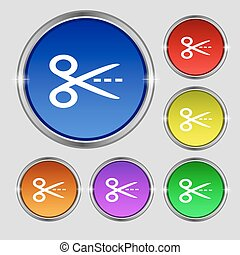 Scissors with cut dash dotted line sign icon. Tailor symbol....