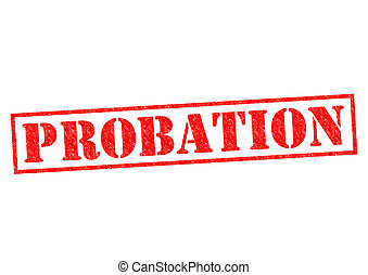 PROBATION red Rubber Stamp over a white background