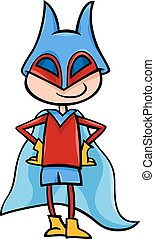 superhero boy cartoon illustration - Cartoon Illustration of...
