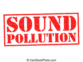 SOUND POLLUTION red Rubber Stamp over a white background