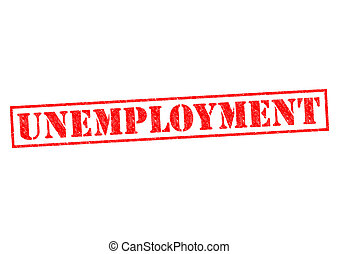 UNEMPLOYMENT red Rubber Stamp over a white background.
