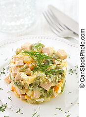 russian salad on white plate