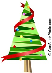 Abstract christmas tree with red ribbon and decorations