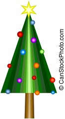 Abstract christmas tree with star and decorations