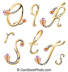 Font with diamonds and gems