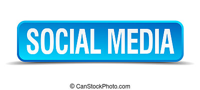 Social media blue 3d realistic square isolated button