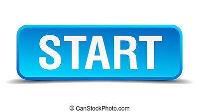 Start blue 3d realistic square isolated button