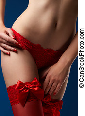 Woman's, body, in, red, lace, underwear