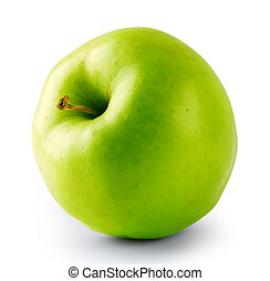 Green juicy apple with a tail