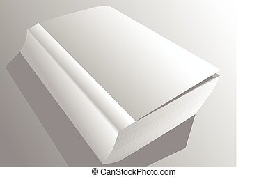 paperback book. white book on gray background with shadow