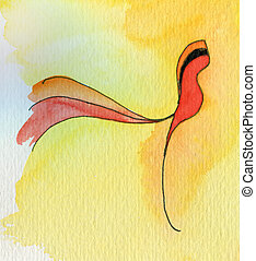 Red bird on yellow Original watercolor painting abstract
